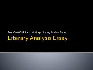 Literary Analysis Essay