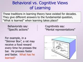 Behavioral vs. Cognitive Views of Learning