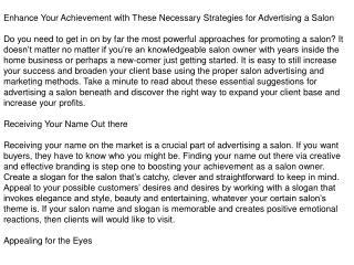 Marketing a Salon