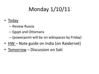 Monday 1/10/11