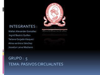 INTEGRANTES : Walter Alexander González  Ingrid Beatriz Guillen  Tatiana Quijada Vásquez