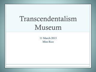 Transcendentalism Museum