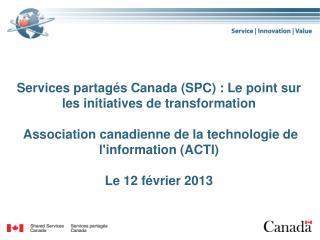 Modèle de transformation des services de  SPC