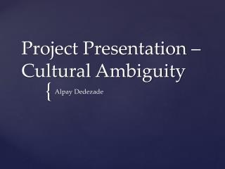 Project Presentation – Cultural Ambiguity