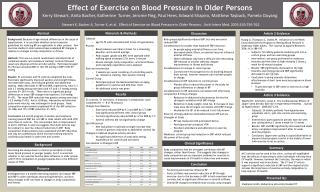 Effect of Exercise on Blood Pressure in Older Persons