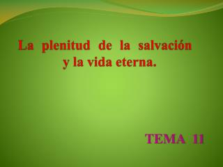 La plenitud de la salvación  y la vida eterna.