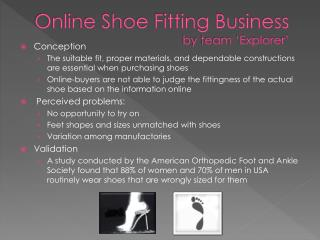 Online Shoe Fitting Business by team 'Explorer'