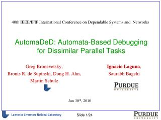AutomaDeD: Automata-Based Debugging for Dissimilar Parallel Tasks