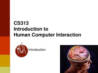 CS313 Introduction to Human Computer Interaction