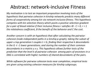 Abstract: network-inclusive Fitness