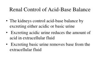 Renal Control of Acid-Base Balance