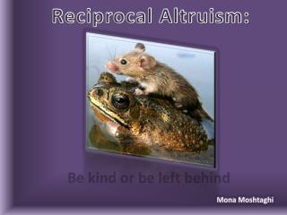 Reciprocal Altruism: