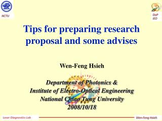 Tips  for preparing research proposal and some advises