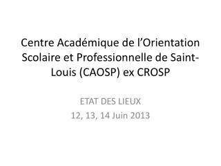 Centre Académique de l'Orientation Scolaire et Professionnelle de Saint-Louis (CAOSP) ex CROSP