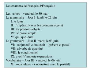 Les examens de Français 3/Français 4 Les verbes – vendredi le 30 mai