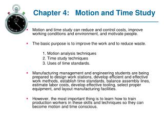 Chapter 4: Motion and Time Study