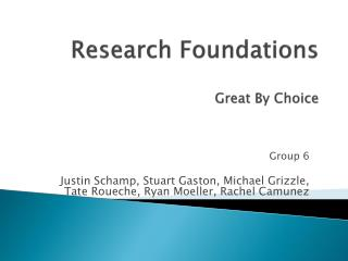 Research Foundations Great By Choice