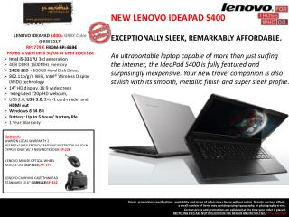 LENOVO  IDEAPAD  S400u  GRAY Color ( 59356217 ) R P: 779 � FROM  R P: 819�