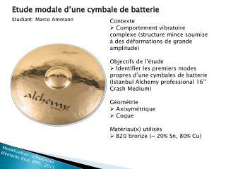 Etude modale d'une cymbale de batterie