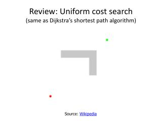 Review: Uniform cost search (same as  Dijkstra's  shortest path algorithm)