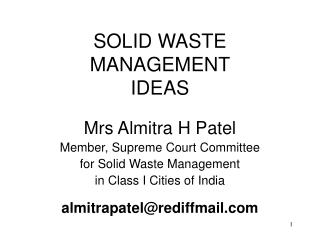 SOLID WASTE MANAGEMENT IDEAS