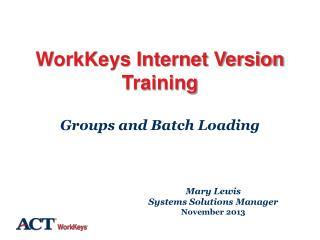 WorkKeys Internet Version Training