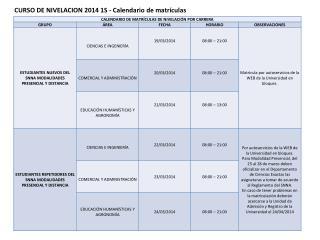 CURSO DE NIVELACION 2014 1S - Calendario de matrículas