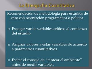La Etnografía Cuantitativa