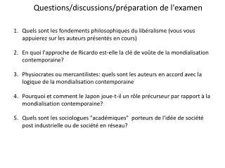 Questions/discussions/préparation de l'examen