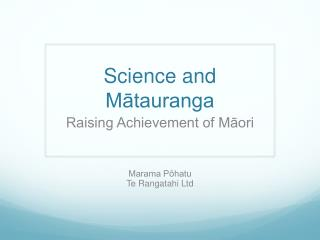 Science and Mātauranga