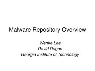 Malware Repository Overview