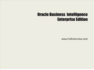 Oracle Business Intelligence Enterprise Edition