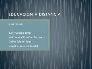 EDUCACI�N A DISTANCIA