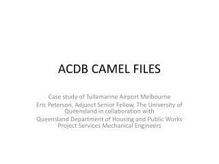ACDB CAMEL FILES