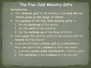 The Five-fold Ministry Gifts