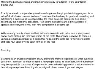 Marketing Plan For a Salon