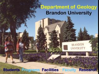 Department of Geology Brandon University