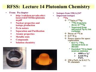 RFSS :   Lecture  14 Plutonium Chemistry