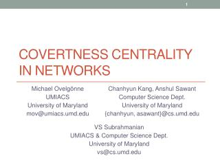 Covertness Centrality  in  Networks