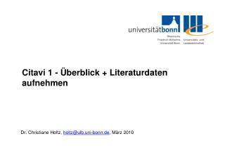 Citavi 1 - Überblick + Literaturdaten  aufnehmen
