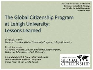 The Global Citizenship Program  at Lehigh University:  Lessons Learned