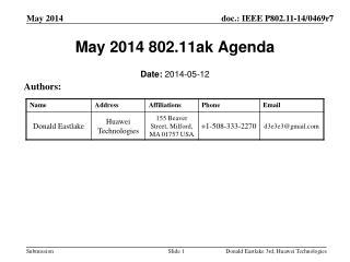 May 2014 802.11ak Agenda