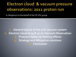 Electron cloud  & vacuum pressure observations: 2011 proton run