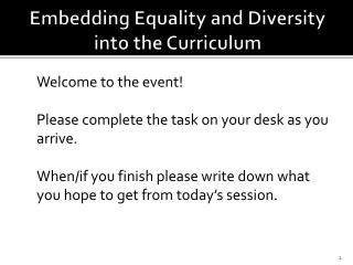 Embedding Equality and Diversity into the Curriculum