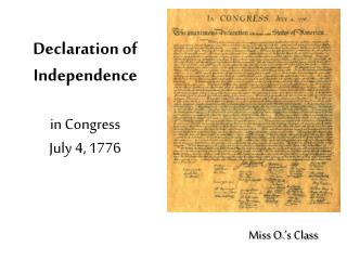 Declaration of Independence in Congress  July 4, 1776