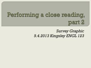 Performing a close reading, part 2