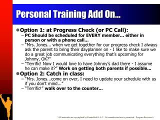 Personal Training Add On...
