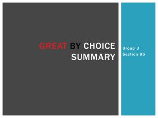 Great by  Choice Summary