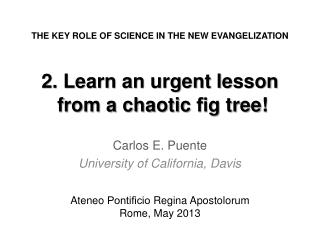 2. Learn an urgent lesson  from a chaotic  fi g tree!