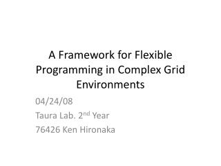 A Framework for Flexible Programming in Complex Grid Environments